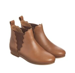 Chloe  LEATHER BROWN SCALLOPED ANKLE BOOTS Kids 10.5