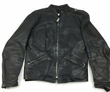 Vintage Brooks Sportswear Leather Biker Cafe Racer Jacket Harley Patch Size 36