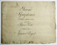 Antique Manuscript Music Book Handwritten Grand Symphony Ignace Pleyel Piano