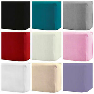 100%Brushed Cotton Fitted Sheet Thermal Warm Single Double King S-KING 160 GSM