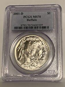 2001-D PCGS MS70 Silver Buffalo Commemorative One Dollar Coin