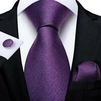 Purple Solid Silk Mens Tie Set Woven Necktie Pocket Square Cufflinks Business