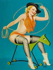 'RIDE 'EM COWGIRL' 1952 DRIBEN VINTAGE PIN UP GIRL WESTERN POSTER PRINT 24x18