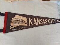 Original Rare Vintage Wool Pennant Flag Kansas City Union Station