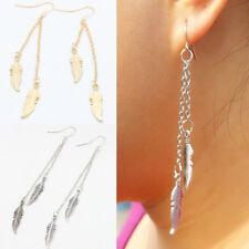 Women Tassel Feather Pendant Ear Hook Ear Art Earring Long Dangle Jewelry