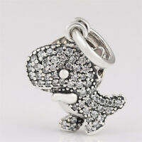 Authentic 925 Sterling Silver Pave' Dinosaur Dangle Charm with CZ Bracelet Bead