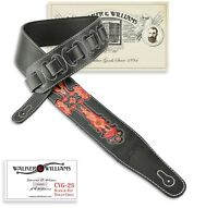 Walker & Williams CVG-23 Black & Red Leather Christian Guitar Strap Tooled Cross