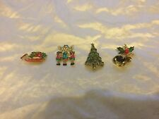 Euc Vtg 4-Piece Costume Jewelry Christmas Theme Pins Tree, Sled, Carolers, Bells