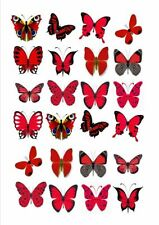 24 X RED MIXED BUTTERFLY EDIBLE CUPCAKE TOPPERS CAKE RICE PAPER M9