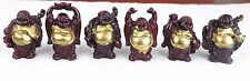 """Laughing Happy Buddha - Set of 6 Shiny Red & Gold Tone Chinese Figurines 3""""H New"""