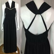 $188 BCBG 8 Black Jersey Halter Necklace Jeweled Ruched Maxi Dress Evening Gown