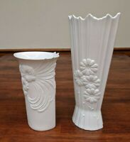 2 Kaiser White Bisque Floral Vases Porcelain West Germany Signed Manfred Frey