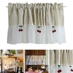 Half Curtain Hemp Lace Splice Curtains For Small Window Kitchen Cabinet Drapes