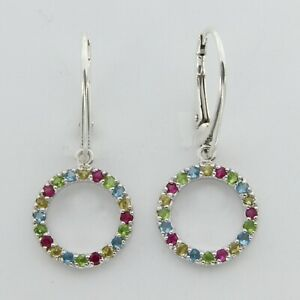 Round Cubic Zirconia Earrings - 925 STERLING SILVER Rhodium - Leverback ART#25s