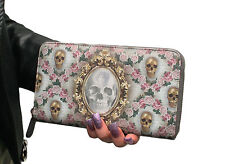 Van Asch Gold Mirror Victorian Woman Antique Steampunk Skull Purple Zip Wallet