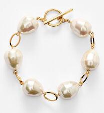 NWT LAUREN Ralph Lauren Rosary Link Pink Faux Pearl Gold-Tone Toggle Bracelet