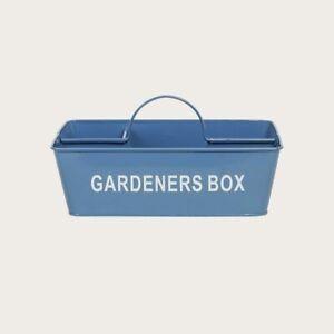 Metal Gardeners Tool Gardeners Box Caddy with Handle in Deep Blue by Zoobibi