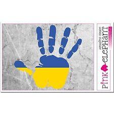 Adesivo a4-Ucraina-Hand-BANDIERA - Bumper Sticker-car-flag bandiera mano