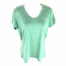 Under Armer Heat Gear Green Short Sleeve Tee T Shirt Womens M Medium
