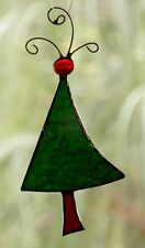 CHRISTMAS PINE TREE Stained Glass HANDMADE SUNCATCHER with METAL SCROLLS Gifts