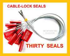 CABLE-LOCK SECURITY SEALS, CARGO / TANKER, BRIGHT-RED, ALL-METAL, THIRTY SEALS