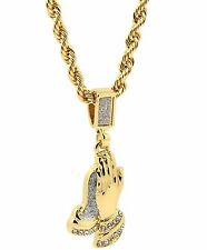 Mens 14k Yellow Gold Plated 24in Sand Blast Praying Hands Rope Chain Necklace