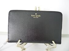 Kate Spade Grand Street Large Zip Around Travel Wallet in Black Embossed Leather