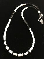 Native American Design MOP Black Onyx Sterling Silver Men's Necklace  336