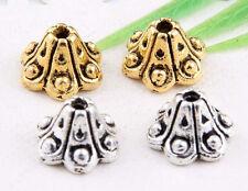 Wholesale 52/120Pcs Tibetan Silver/Gold(Lead-Free) Flower Beads Caps 9x6mm