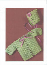 Baby Crochet Jacket and Hat (Bonnet) PATTERN(NOT FINISHED ITEM)