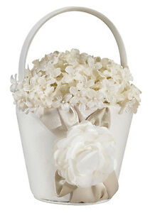 taupe wedding flower girl basket