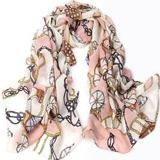 Ladies Vintage Scarf Soft Pink wheel Romantic Classic Chiffon Silk Feel Scarf