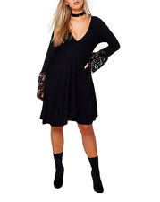 1c6038e41f4e Womens Plus Sizes Plunge Lace Detail Ladies Skater Dress Top UK 16-24 18  Black