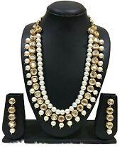 Indian Bollywood Wedding Long Kundan Pearl Bridal Gold Plated Necklace Set 3 Row