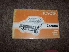1978 Toyota Corona 1.8L Operator User Guide Owner Owner's Manual