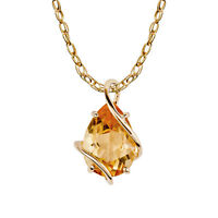 10k Yellow Gold Genuine Pear-shape Citrine Teardrop Pendant Necklace