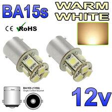 2 x 12v ba15s Bianco Caldo 8 SMD LED Lampadine Laterali interni 382 207 245 12 Volt