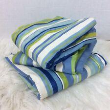 "Lot Three Striped Window Curtains Drapery 46"" x 84"" Striped Green Blue Lined"