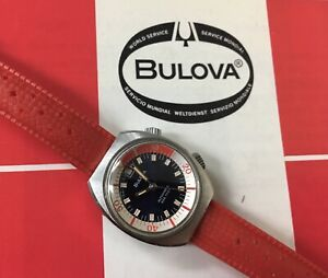 Ladies 1971 vintage BULOVA SUPER COMPRESSOR 666ft dive watch auto rotating bezel