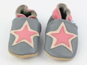 Baby Girl Star Shoes Dotty Fish Soft Leather Pram Shoe Non-slip Pre-walkers New