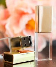 20pcs 8GB Gold Crystal USB 2.0 Flash Drive Custom Unique 3D Logo Wedding Gift