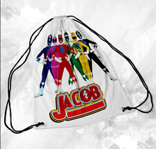 Personalised Drawstring Bag Any Name Power Rangers Swimming School Nursery PE 1