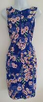 Womens Phase Eight Blue Floral Botanical Ruched Sides Stretch Wiggle Dress 10