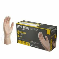 1000/cs GLOVEWORKS IV Clear Industrial Latex Free Vinyl Disposable Gloves