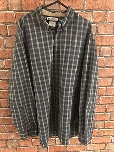 Vintage COLUMBIA Check Pattern Shirt Men's LARGE Blue Grey Long Sleeve Casual