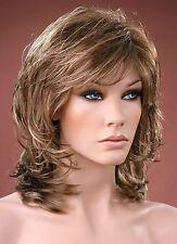 Ladies Wig Natural Volume Style Brown Blonde Highlights Bangs Full Fashion Wig