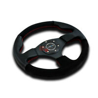 NRG ST-012R-S CAR/AUTO 320MM 6-BOLTS ALUMINUM SPOKES LEATHER GRIP STEERING WHEEL