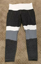 Athleta Womens Athletic Yoga Leggings Size SP Gray White Stripped Thigh Pockets