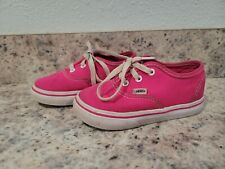 Vans Off the Wall Gray with Pink No Tie Shoes Kids Toddler Girls Size 7
