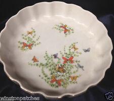 "SHAFFORD FINE PORCELAIN ECSTASY QUICHE DISH 9 5/8"" BUTTERFLIES & FLOWERS"